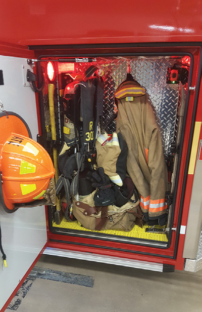 3Demers has installed sealed PPE compartments on some ambulances staffed by firefighters to hold their PPE securely and apart from the cab and patient module interior to prevent contamination.