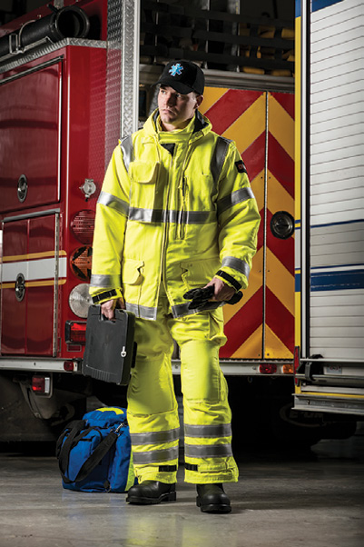 1Lion makes the MedPro line of EMS turnout gear with a Westex® DH fire-resistant, breathable outer shell and a CROSSTECH® EMS moisture barrier. (Photos 1 and 2 courtesy of Lion.)