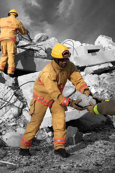 2The TR-51 series of TECHRESCUE® turnout gear made by Lion is dual compliant with NFPA standards for EMS and technical rescue work.