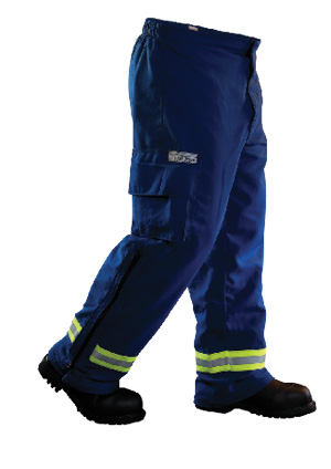 6The Para-Dex EMS pants made by Fire-Dex have an elastic waist, an inner zipper and outer hook-and-loop closure, and semi-bellows hand warmer pockets.