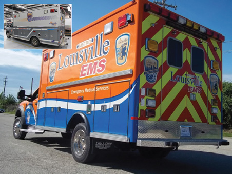 2Louisville (KY) Metro EMS turned to Life Line Emergency Vehicles to rehab this ambulance (inset). The Louisville ambulance is shown after the rechassis and refurb done by Life Line. (Photos courtesy of Life Line Emergency Vehicles.)