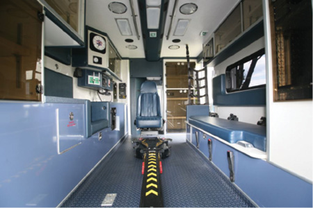3The interior of a refurbished ambulance for the Haverstraw (NY) Ambulance Corps done by P.L. Custom Emergency Vehicles. (Photo courtesy of P.L. Custom Emergency Vehicles.)