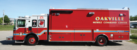 7VT Hackney Inc. converted and refurbished an Ontario (Canada) Fire Rescue pumper and converted it to this 29-foot mobile command unit with a slide-out room and integrated communications and audio-visual systems. (Photo courtesy of VT Hackney Inc.)