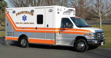 1The Princeton (NJ) First Aid & Rescue Squad went to PL Custom Emergency Vehicles for a new custom ambulance on a 2017 Ford E-450 chassis with an all-aluminum modular body. (Photos courtesy of PL Custom Emergency Vehicles.)
