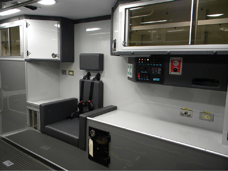 5Passive safety features on the interior of the module include radiusing of countertops and corners and 45-degree angles on cabinets to eliminate sharp strike points.