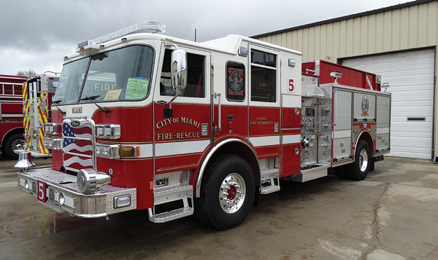 5The Miami (FL) Fire Rescue Department spec'd its new Pierce Manufacturing Arrow XT pumper with a Waterous CSU 1,500-gpm single-stage pump, a 500-gallon water tank, and a clean cab concept. (Photos 5 and 6 courtesy of Ten-8 Fire Equipment.)