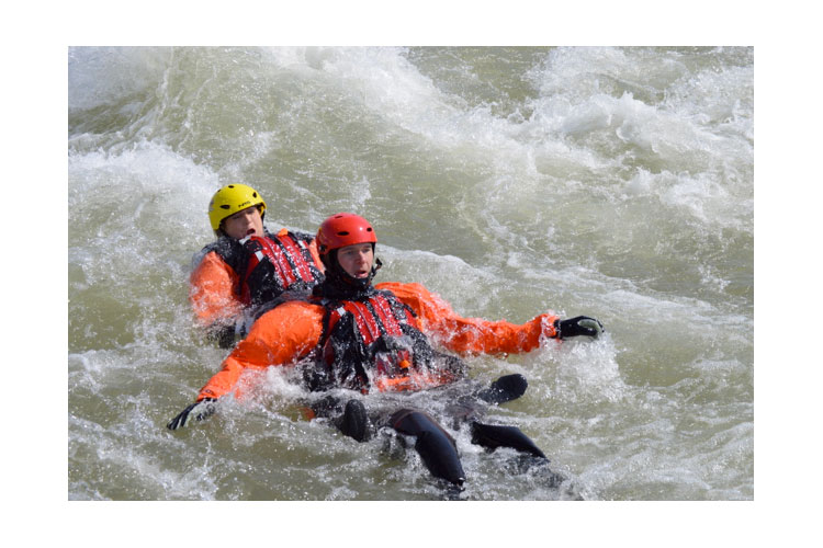 Responders in swiftwater rescue