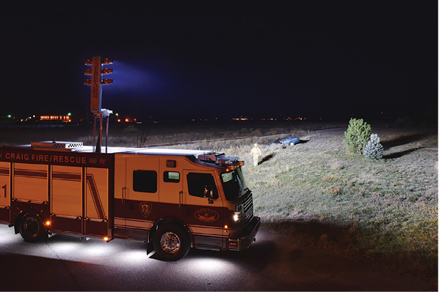 5A Command Light CL light tower lights up a motor vehicle accident scene for the Craig (CO) Fire Department. (Photo courtesy of Command Light.)