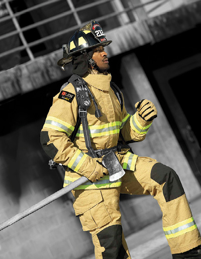 1Lion was the manufacturing partner in the Department of Homeland Security's Smoke Resistant Turnout project, which increased turnout gear protection at interfaces like the cuffs of coats and pants, the bottom of the coat, and the neck area. (Photo courtesy of Lion.)