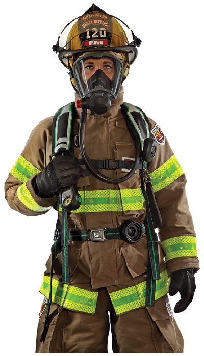 2Fire-Dex offers the Interceptor package of turnout gear that includes FXR personal protective equipment (shown), an H41 Interceptor Hood, and TECGEN wildland and rescue gear. (Photos 2 and 3 courtesy of Fire-Dex.)