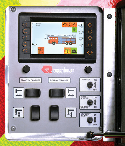 2A close-up of the Aerial Control Screen that is part of the technological heart of Rosenbauer's Smart Aerial system.
