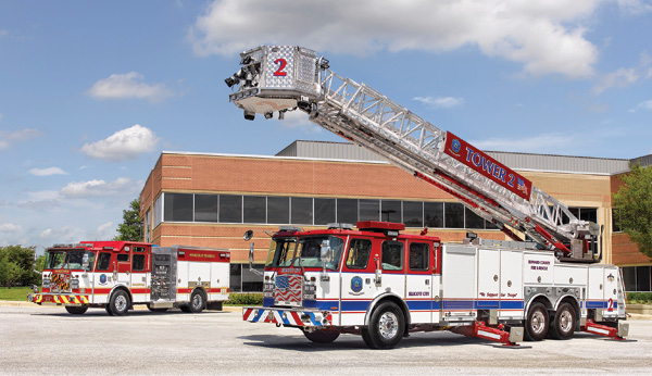 1Howard County (MD) Department of Fire and Rescue Services went to E-ONE for this 95-Platform aerial, on a Cyclone long cab with seating for five firefighters, and a custom pumper on a Typhoon long cab with a 12-inch vista raised roof. (Photos 1-6 courtesy of E-ONE.)