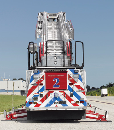 2The E-ONE aerial for Howard County uses four criss-cross underslung jacks with a spread of 13 feet 8 inches.
