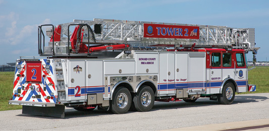 3The platform rig for Howard County is powered by a Cummins 500-hp ISX12 diesel engine and an Allison 4500 EVS automatic transmission.