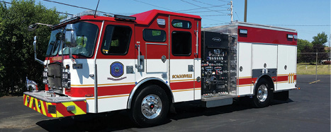 7Howard County's custom pumper has a Hale 1,500-gpm Qmax pump, a 750-gallon water tank, a 30-gallon fuel cell, and a FoamPro 2001 foam system. [Photos 7-9 courtesy of Howard County (MD) Department of Fire and Rescue Services.]