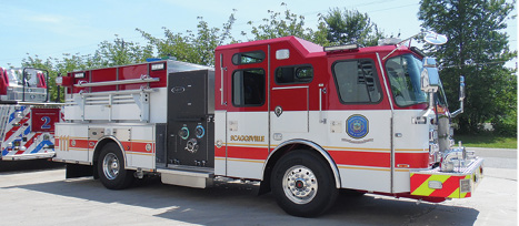 8Howard County chose to have E-ONE's PROTECH Safety System with OnGuard® collision warning and mitigation system installed on its pumper and aerial as well as front and side roll air bags, the G4® electronic stability control system, the CrewGuard™ occupant detection system, and a 360-degree camera system.