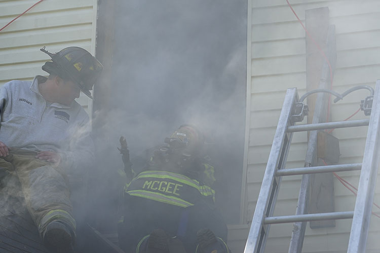 Firefighters participating in hands-on training