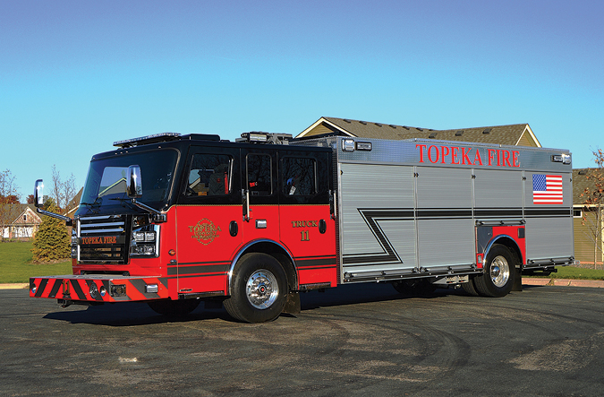 Rosenbauer—Topeka (KS) Fire Department rescue/city service truck. Commander cab and chassis; Cummins ISL9 450-hp engine; EXT extruded aluminum body with lifetime warranty; Onan 40-kW generator; Command Light KL415 light tower; Bauer 25-cfm air compressor with four ASME 6,000-psi air bottles. Dealer: Max Fire, Castle Rock, CO. (Photo by Paul Barrett.)