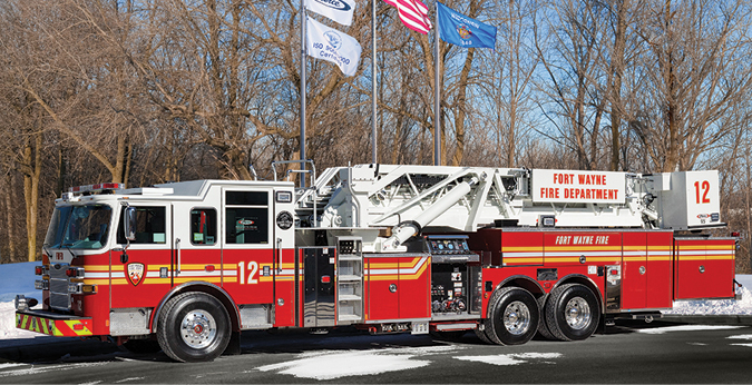 Pierce—Fort Wayne (IN) Fire Department 95-foot platform quints (2). Arrow XT cabs and chassis; Detroit DD13 525-hp engines; Waterous S100 2,000-gpm single-stage pumps; UPF Poly 300-gallon tanks; Onan 6-kW generators. Dealer: Garry Davis, Global Emergency Products, Whitestown, IN.