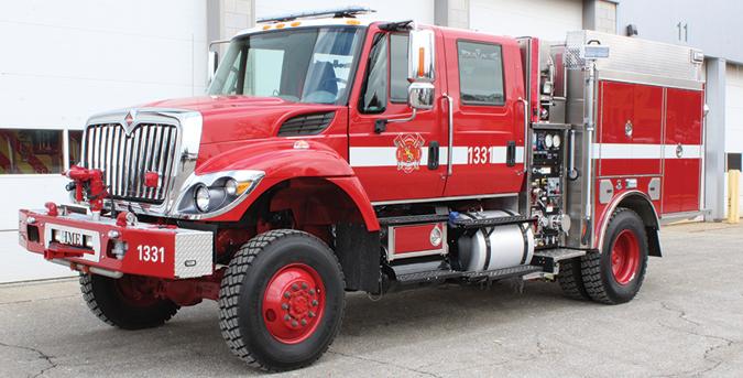 HME Ahrens-Fox—Bad Rock (MT) Rural Fire Department wildland type III pumper. International 7400 four-door cab and chassis; Navistar N9 330-hp engine; LSPH 750-gpm pump; United Plastics Fabricating 500-gallon tank; FoamPro 1600 Class A foam system. Dealer: Gary Mahugh, Mahugh Fire & Safety LLC, Kalispell, MT.