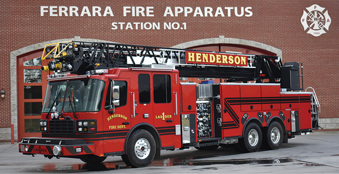 Ferrara—Henderson (KY) Fire Department 107-foot aerial ladder quint. Inferno cab and chassis; Cummins ISX12 500-hp engine; Hale Qmax 2,000-gpm pump; 500-gallon polypropylene tank; 20-gallon foam cell; Hale FoamLogix 3.3 single-agent foam system; Harrison Stinger 6-kW generator; Akron 3482 monitor with Akron Saber 1577 nozzle; Federal QuadraFlare warning lights. Dealer: Keith Sander Mid-America Fire & Safety, Evansville, IN.