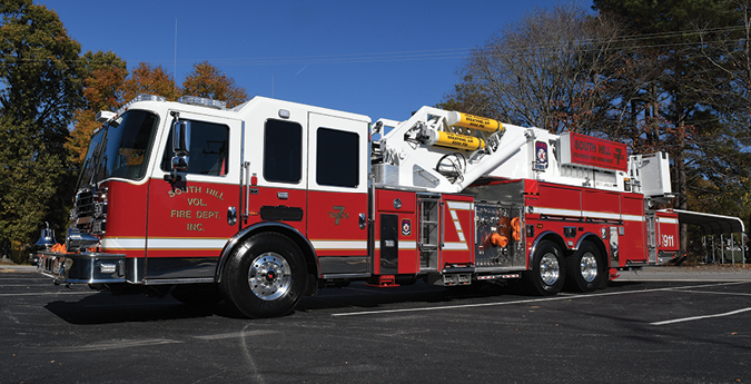 KME—South Hill (VA) Volunteer Fire Department Inc. AerialCat platform quint. Predator cab and chassis; Cummins ISX15 600-hp engine; Waterous CSU 2,000-gpm pump; 300-gallon polypropylene tank; 100-foot six-section steel ladder midmount aerial ladder platform; Optimo camera system with LCD color screen; IQAN full hydraulic control system. Dealer: Scott Zingaro, Goodman Specialized Vehicles, Amelia Court House, VA.