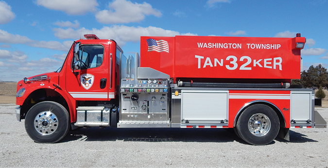 Alexis—Washington Township Volunteer Fire Department, Marion, IN, pumper-tanker. Freightliner M2 cab and chassis; Cummins ISL 350-hp engine; APR 2,000-gallon wet side polypropylene tank; Darley PSM 1,250-gpm pump; Newton 10-inch square manual dump valve with swivel tank dump and extension; folding tank rack storage and suction hose storage top of compartments on right and left sides. Dealer: Eric Foreman, Alexis Fire Equipment, Alexis, IL.
