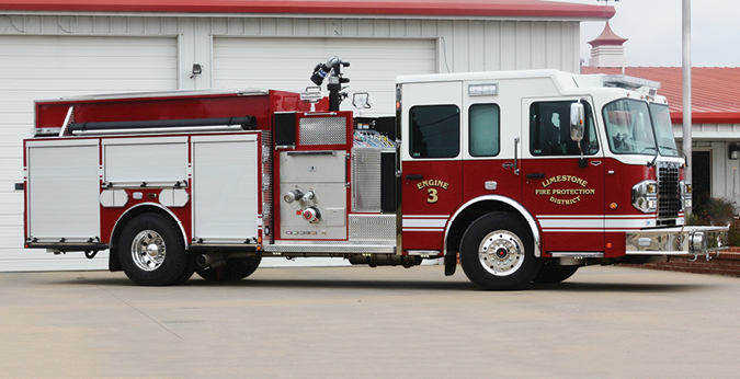 Darley—Limestone Fire Protection District, Claremore, OK, AutoCAFS pumper. Spartan Metro Star cab and chassis; Cummins ISL9 450-hp engine; Darley Champion LDMBC 1,500-gpm pump; PolyBilt fire body with integral 760-gallon tank and 25- and 40-gallon foam cells. FoamPro 2002 dual-agent foam system; user-friendly Darley AutoCAFS system. Dealer: Neal Brooks, W.S. Darley, Braceville, IL.