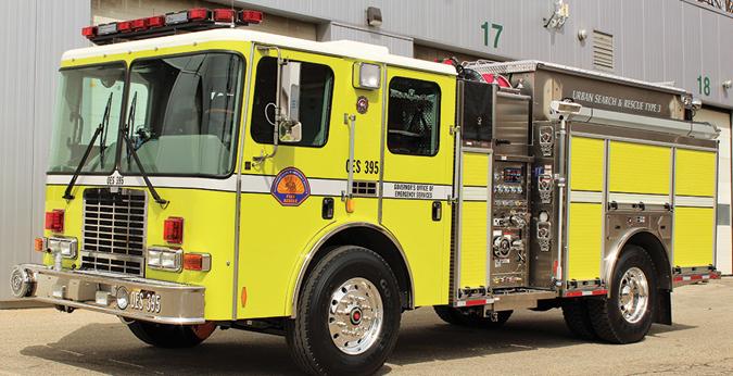 HME—CAL OES, Mather, CA, Model 18, Type1 Urban Rescue pumpers (2). HME Ahrens-Fox SFO cabs and chassis; stainless steel modular bodies; Cummins ISL9 370-hp engines; Hale Qflo 1,250-gpm pumps; UPF Poly 850-gallon tanks; 20-gallon foam cells; Hale FoamLogix 2.1A Class A foam systems. Dealer: Casey Scott, Derotic Emergency Equipment, El Dorado Hills, CA.