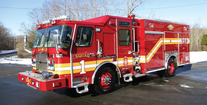 E-ONE—North Providence (RI) pumper. Typhoon cab and chassis; Cummins L9 450-hp engine; E-ONE 1,500-gpm pump; UPF Poly 750-gallon tank; 30-gallon foam cell; Smart Power 10-kW generator; 125-gpm Akron by-pass eductor with pickup tube foam system. Dealer: John Buckley, Greenwood Emergency Vehicles, Attleboro, MA.