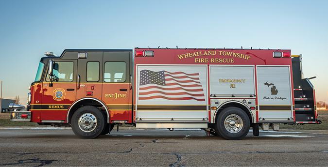 Spencer Manufacturing—Wheatland Township Fire Department, Remus, MI, pumper. Spartan Metro Star cab and chassis; Cummins L9 450-hp engine; Hale Qmax 1,500-gpm pump; APR polypropylene 1,052-gallon tank; 25-gallon foam cell; Hale 2.1A Class A foam system. Dealer: Steve Buckner, Spencer Manufacturing, South Haven, MI.
