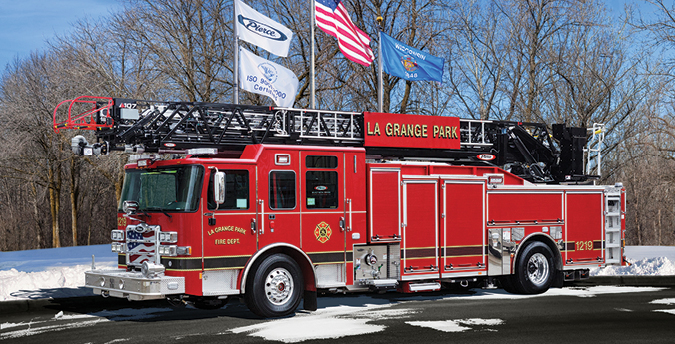 Pierce—LaGrange Park (IL) Fire Department 107-foot Ascendant PUC aerial ladder quint. Enforcer cab and chassis; Cummins L9 450-hp engine; Pierce 1,500-gpm pump; UPF Poly 500-gallon tank; side roll and frontal impact protection. Dealer: John Kenna, Global Emergency Products, Aurora, IL.