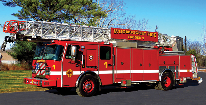 E-ONE—Woonsocket (RI) Fire Department 110-foot aerial ladder. Cyclone ll Metro 100 cab and chassis; Cummins L9 450-hp engine; 87-foot waterway; 1,000-gpm Akron monitor on waterway; Vista IV display/control screen; Voyage rear camera system; Smart Power 10-kW generator. Dealer: John Buckley, Greenwood Emergency Vehicles, Attleboro, MA.