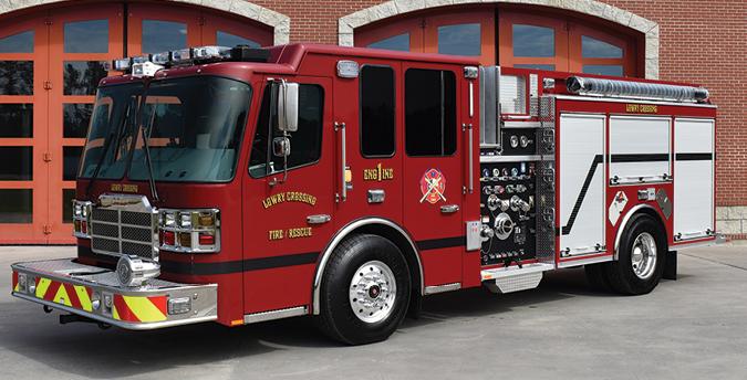Ferrara—Lowry Crossing Fire Department, McKinney, TX, pumper. Cinder cab and chassis; Cummins ISL9 450-hp engine; Hale Qflo 1,250-gpm pump; 1,000-gallon polypropylene tank; extruded aluminum body; Federal QuadraFlare warning lights; Whelen scene lights. Dealer: Carl Nix, Lone Star Emergency Group, Houston, TX.