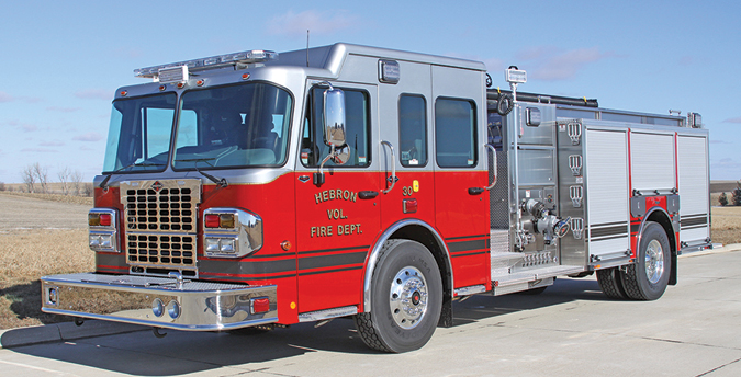 Toyne—Hebron City (NE) Fire Department pumper. Spartan Metro Star X cab and chassis; Cummins ISL 380-hp engine; Waterous CSCU20 1,250-gpm pump; UPF Poly 1,000-gallon tank; 25-gallon foam cell; FoamPro 1600-Class A foam system; Akron Apollo monitor. Dealer: Joe Moller, Toyne Inc., Breda, IA.