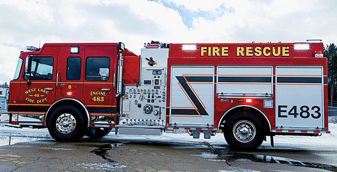 Marion—West Lake (PA) Fire Department pumper. Spartan Metro Star cab and chassis; Cummins L9 450-hp engine; Hale Qmax 1,500-gpm pump; UPF Poly 1,000-gallon tank; 30-gallon foam cell; Akron 95-gpm eductor Class A foam system; Harrison 6-kW generator. Dealer: Marion Body Works, Marion, WI.