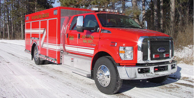 Custom Fab & Body—Van Dyne (WI) Fire Department walk-around rescue. Ford F-650 Crew Cab and chassis; Power Stroke 6.7-liter 330-hp engine; 16.5-foot walk-around rescue body; Command Light CL602A light tower; Onan 15-kW generator; Warn ZEON 10-S multimount 10,000-pound winch. Dealer: Gary Bogenschutz, Custom Fab & Body, Marion, WI.