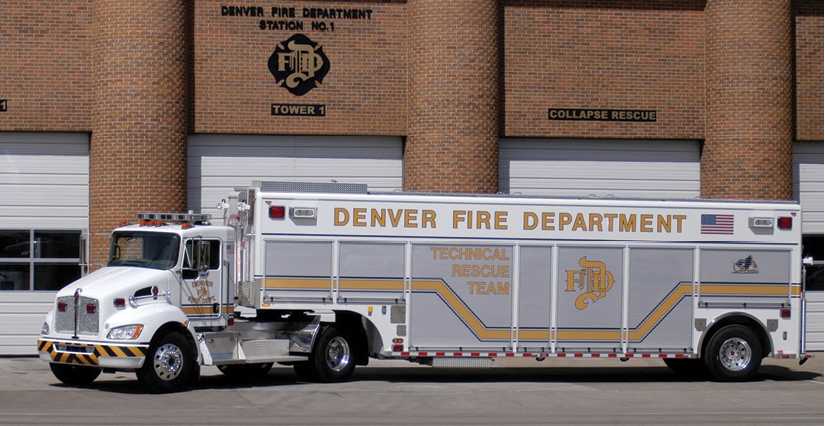 """1The Denver (CO) Fire Department technical rescue, known as the """"collapse rig,"""" at Station 1. [Photo courtesy of the Denver (CO) Fire Department.]"""