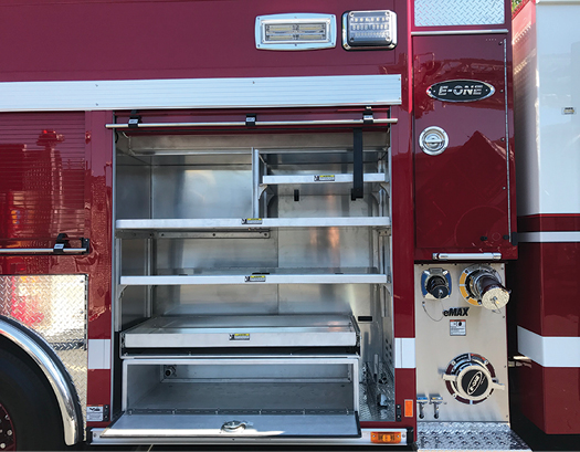 2This E-ONE pumper built for the Rincon Valley (AZ) Fire Department has two 2½-inch preconnect discharges in boxes in the bottom of the L1 and R1 compartments.