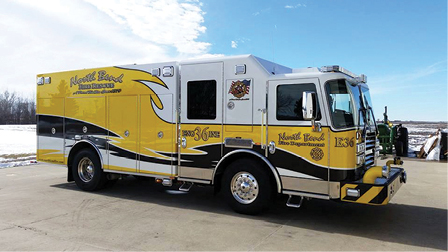 3KME built this pumper for the North Bend (NE) Rural Fire Protection District with a six-inch suction inlet and a 2½-inch gated discharge on the front bumper. (Photos 3 and 4 courtesy of KME.)  =