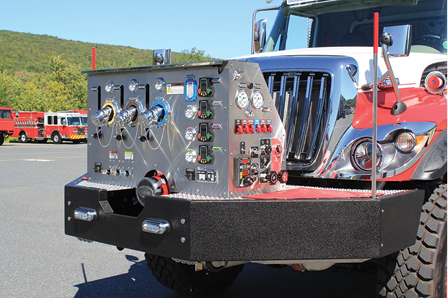 4KME built this front-mount pumper for the Point Breeze (NY) Volunteer Fire Department, where all intakes and discharges are at the front of the vehicle.
