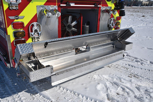 7SVI Trucks built a full-width crosslay tray into the rear bumper of this pumper. (Photos 7 and 8 courtesy of SVI Trucks.)