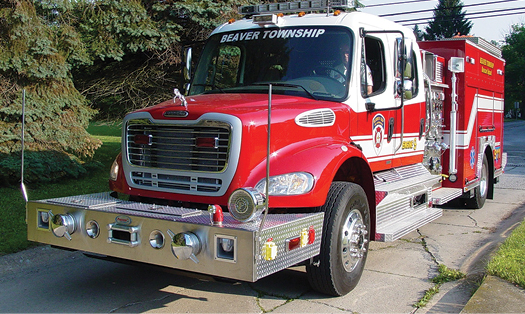 9Precision Fire Apparatus built this pumper-tanker on a Freightliner chassis with two recessed six-inch intakes and a 2½-inch discharge in the front bumper for the Beaver Township (OH) Fire Department. (Photos 9 and 10 courtesy of Precision Fire Apparatus.)