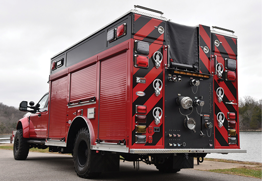 10 The Trumbauersville (PA) Fire Department had Precision Fire Apparatus build this rear-mount pumper where all the intakes and discharges are located at the back and the pump panel in a side compartment.