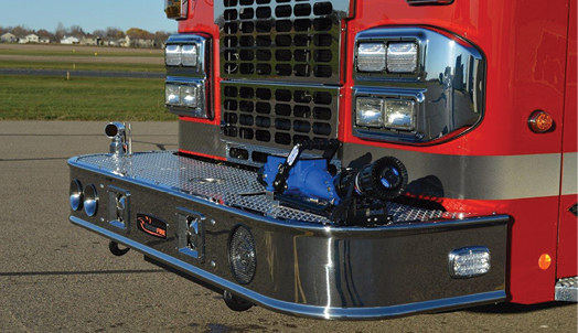 11 The Brainerd (MN) Fire Department had CustomFIRE Apparatus build this rear-mount pumper with a front bumper carrying a 2½-inch outlet and a Task Force Tips Blitzfire monitor and at the rear a six-inch inlet, a 2½-inch inlet, and a 2½-inch direct tank fill inlet. (Photos 11 and 12 courtesy of CustomFIRE Apparatus.)