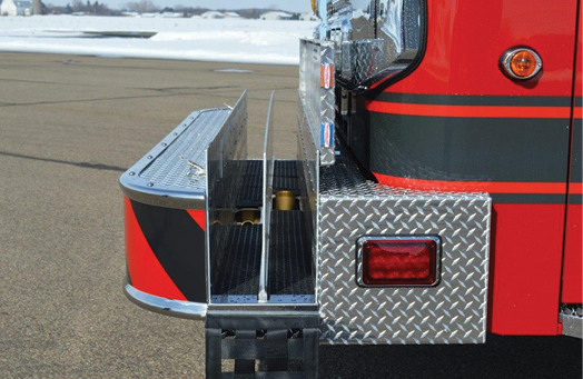 12 CustomFIRE Apparatus built this pumper for the Argyle Adams (WI) Fire Department with two full-length crosslays in the front bumper—one with a two-inch swivel and the other with a 2½-inch swivel.