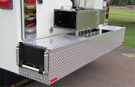13 This rear bumper crosslay was built on a pumper-tanker by 4 Guys Fire Apparatus. (Photos 13 and 14 courtesy of 4 Guys Fire Apparatus.)