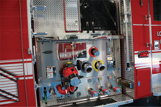 15 This side-mount pumper built by Pierce Manufacturing has no large-diameter inlet on the officer's side pump panel. (Photos 15 and 16 courtesy of Pierce Manufacturing Inc.)