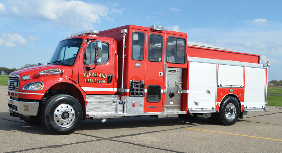 1CustomFIRE Apparatus built this Full Response® pumper for the Cleveland (MN) Fire Department on a Freightliner M2 chassis with stainless steel crew cab and body. (Photos courtesy of CustomFIRE Apparatus.)