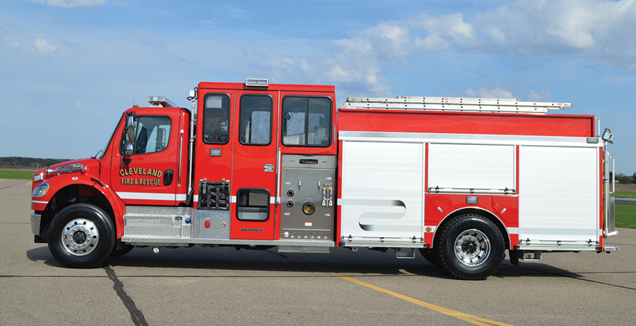 2The CustomFIRE Full Response pumper features an interior pump control panel, command desk, EMS and storage cabinets, and seating for five firefighters in the enclosed cab.